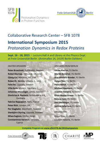 Symposium 2015 - Protonation Dynamics in Redox Proteins