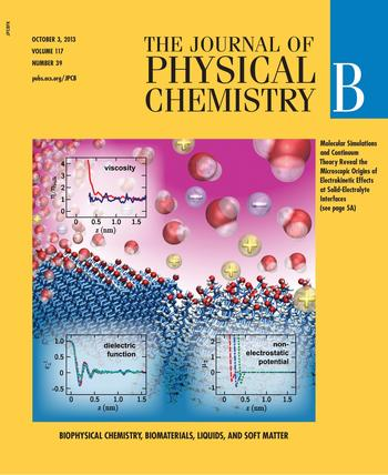 Cover page of J. Phys. Chem. B (Oct. 2013)